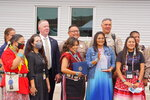 Navajo Nation Council Delegate Amber Kanazbah Crotty, front, left, stands beside Jessica Holiday, Danialle Whitehat, Lynn Bia and Tonya Grass, victim advocates for the Utah Navajo Health System, who received a community leadership award from the Federal Bureau of Investigation in Montezuma Creek, Utah on Wednesday, July 14, 2021. (Zak Podmore /The Salt Lake Tribune via AP)