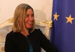 European Union foreign policy chief Federica Mogherini meets with Iraqi Foreign Minister Mohamed Alhakim at the Ministry of Foreign Affairs in Baghdad, Iraq, Saturday, July 13, 2019. (AP Photo/Hadi Mizban)