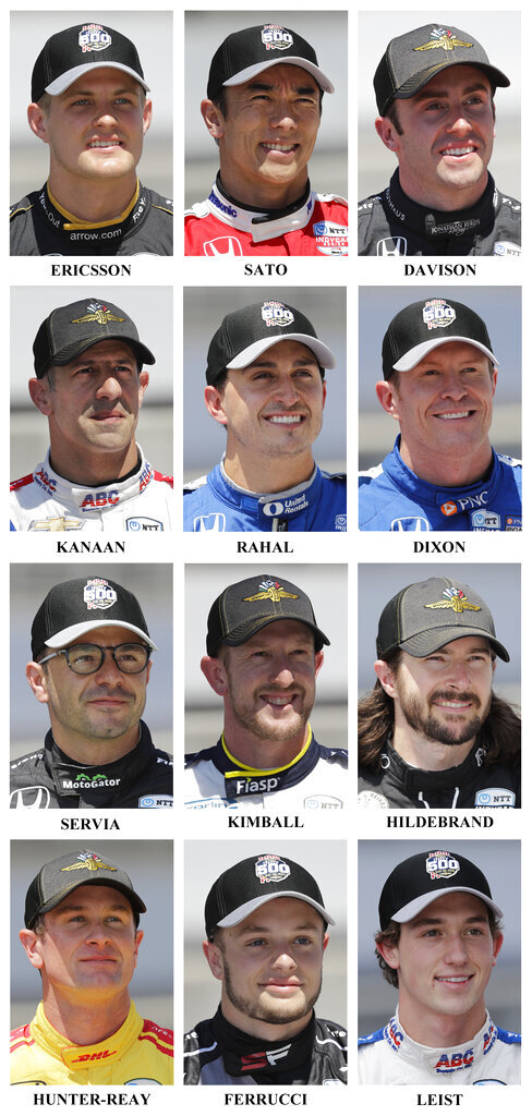 Drivers in the starting field for the May 26 Indianapolis 500 IndyCar auto race are shown after they qualified at the Indianapolis Motor Speedway in Indianapolis, Saturday, May 18, 2019. Fifth row: Marcus Ericsson, of Sweden, Takuma Sato, of Japan, and James Davison, of Australia. Sixth row: Tony Kanaan, of Brazil, Graham Rahal and Scott Dixon, of New Zealand. Seventh row: Oriol Servia, of Spain, Charlie Kimball and JR Hildebrand. Eight row: Ryan Hunter-Reay, Santino Ferrucci and Matheus Leist, of Brazil. (AP Photo/Dave Parker)