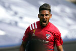 FC Dallas forward Franco Jara celebrates his goal during the first half of an MLS soccer match against Sporting Kansas City in Kansas City, Kan., Saturday, Sept. 19, 2020. (AP Photo/Orlin Wagner)