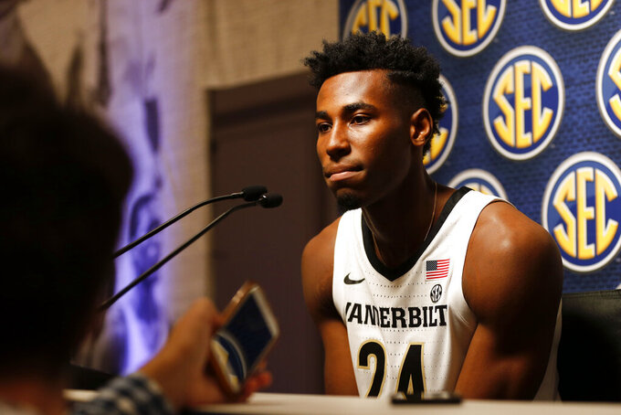 Vanderbilt's Aaron Nesmith speaks during the Southeastern Conference NCAA college basketball media day, Wednesday, Oct. 16, 2019, in Birmingham, Ala. (AP Photo/Butch Dill)