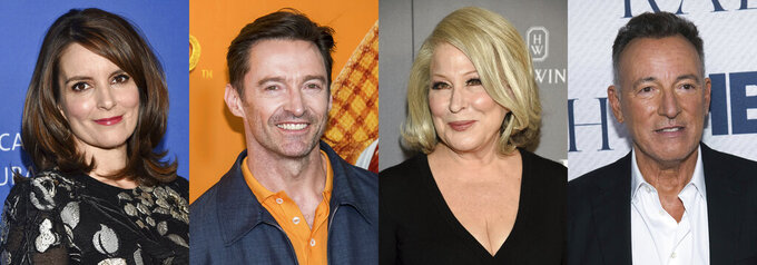 This combination photo shows Tuna Fey, Hugh Jackman, Bette Midler and Brice Springsteen, who have raided their closets to offer up personal items for a charity online auction on April 28. (AP Photo)