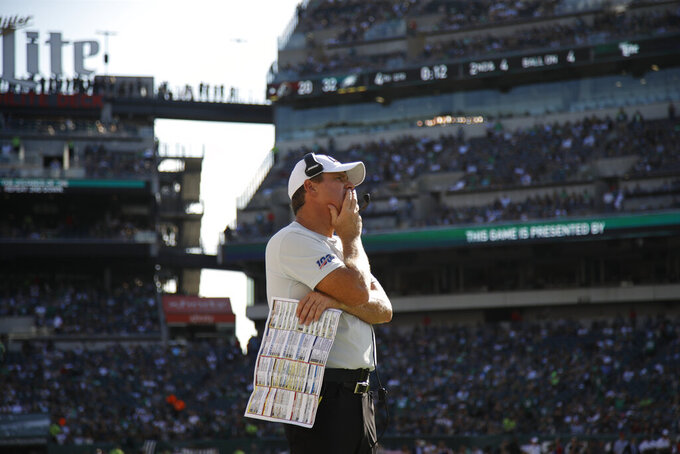 Washington Redskins head coach Jay Gruden watches from the sideline during the second half of an NFL football game against the Philadelphia Eagles, Sunday, Sept. 8, 2019, in Philadelphia. (AP Photo/Matt Rourke)