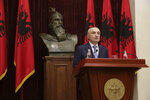 "Albanian President Ilir Meta speaks during a news conference in capital Tirana, Albania on Monday June 10, 2019. Albania's president says he has canceled upcoming municipal elections fearing a ""social tension."" Ilir Meta said holding elections without the opposition would be ""undemocratic"" and would ""freeze the country's integration."" (AP Photo/Hektor Pustina)"