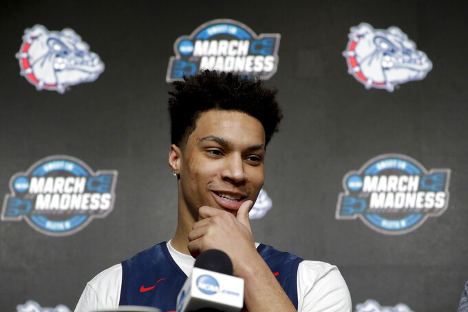 Gonzaga forward Brandon Clarke during a news conference at the NCAA men's college basketball tournament in Anaheim, Calif., Wednesday, March 27, 2019. Gonzaga plays Florida State in a West Regional semifinal on Thursday. (AP Photo/Chris Carlson)