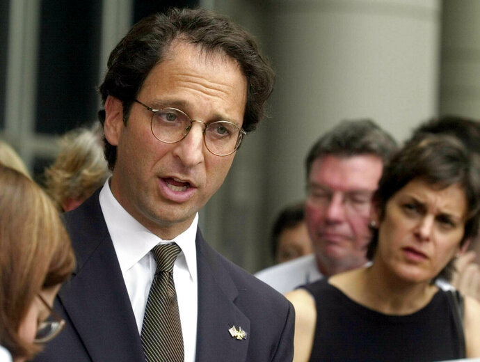 FILE - In this Wednesday, Oct. 2, 2002 file photo, Assistant U.S. Attorney Andrew Weissmann talks with the media outside the federal courthouse in Houston. Weissmann, one of the most prominent prosecutors working for special counsel Robert Mueller is leaving the team soon, a likely indication that the investigation is close to wrapping up.(AP Photo/Pat Sullivan, File)
