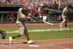 San Diego Padres' Jorge Mateo hits an RBI-double to deep left field off San Francisco Giants relief pitcher Jarlin García in the seventh inning of a baseball game Sunday, Sept. 27, 2020, in San Francisco. (AP Photo/Eric Risberg)