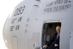Vice President Mike Pence arrives at Al Asad Air Base, Iraq, Saturday, Nov. 23, 2019. The visit is Pence's first to Iraq and comes nearly one year since President Donald Trump's surprise visit to the country. (AP Photo/Andrew Harnik)