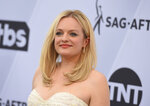"""FILE - In a Jan. 27, 2019 file photo, Elisabeth Moss arrives at the 25th annual Screen Actors Guild Awards at the Shrine Auditorium & Expo Hall, in Los Angeles. Hulu said Monday, Feb. 11, 2019 that the dystopian drama  """"The Handmaid's Tale"""" will debut three new episodes on Wednesday, June 5. (Photo by Jordan Strauss/Invision/AP, File)"""