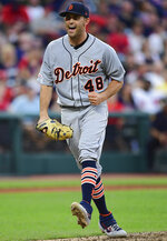 Detroit Tigers starting pitcher Matthew Boyd celebrates after striking out Cleveland Indians' Francisco Lindor during the fifth inning of a baseball game Thursday, July 18, 2019, in Cleveland. (AP Photo/David Dermer)