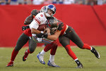 New York Giants quarterback Daniel Jones (8) gets sacked by Tampa Bay Buccaneers linebacker Carl Nassib (94) during the second half of an NFL football game Sunday, Sept. 22, 2019, in Tampa, Fla. (AP Photo/Jason Behnken)