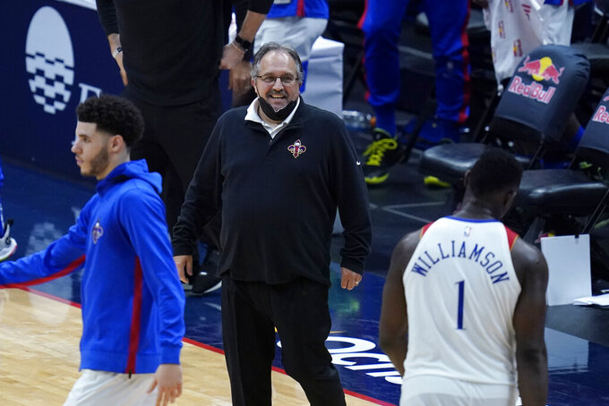 New Orleans Pelicans head coach Stan Van Gundy reacts during a late run in the second half of an NBA basketball game against the Golden State Warriors in New Orleans, Tuesday, May 4, 2021. The Pelicans won 108-103. (AP Photo/Gerald Herbert)