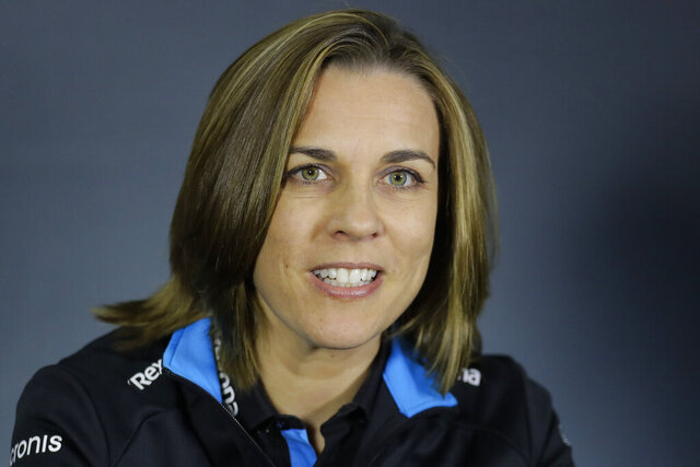 FILE - In this Friday, April 26, 2019 file photo, Williams Deputy Team Principal Claire Williams attends a news conference at the Baku Formula One city circuit in Baku, Azerbaijan. After more than 40 years running one of Formula One's most storied teams, the Williams family is stepping aside so that its new owners have a clear shot at reviving the team's fortunes, it was announced Thursday, Sept. 3, 2020. Claire Williams, whose father co-founded the Williams F1 team, is stepping down as deputy team principal after this weekend's Italian Grand Prix. (AP Photo/Sergei Grits, file)