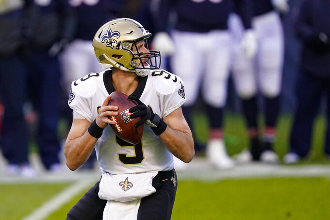 New Orleans Saints quarterback Drew Brees (9) throws against the Chicago Bears in the first half of an NFL football game in Chicago, Sunday, Nov. 1, 2020. (AP Photo/Charles Rex Arbogast)