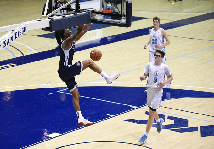Gonzaga guard Jalen Suggs, left, dunks as San Diego forward Ben Pyle (33) and guard Finn Sullivan (5) watch during the second half of an NCAA college basketball game Thursday, Jan. 28, 2021, in San Diego. (AP Photo/Denis Poroy)