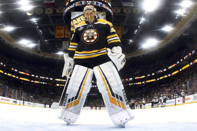 Boston Bruins goaltender Tuukka Rask, of Finland, skates into position in front of the net during the second period in Game 2 of the NHL hockey Stanley Cup Final against the St. Louis Blues, Wednesday, May 29, 2019, in Boston. (Bruce Bennett/Pool via AP)