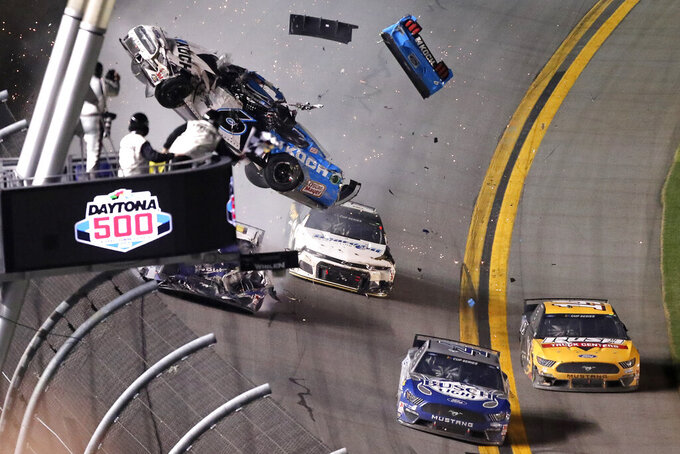 Ryan Newman (6) crashes on the last lap of the NASCAR Daytona 500 auto race at Daytona International Speedway, Monday, Feb. 17, 2020, in Daytona Beach, Fla. (AP Photo/David Graham)