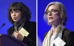 """FILE - This Tuesday, Dec. 1, 2015 file combo image shows Emmanuelle Charpentier, left, and Jennifer Doudna, both speaking at the National Academy of Sciences international summit on the safety and ethics of human gene editing, in Washington. The 2020 Nobel Prize for chemistry has been awarded to Emmanuelle Charpentier and Jennifer Doudna """"for the development of a method for genome editing."""" A panel at the Swedish Academy of Sciences in Stockholm made the announcement Wednesday Oct. 7, 2020. (AP Photo/Susan Walsh, File)"""