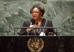 Mia Amor Mottley, Prime Minister, Minister for National Security and the Civil Service addresses the 76th Session of the U.N. General Assembly at United Nations headquarters in New York, on Friday, Sept. 24, 2021. (John Angelillo /Pool Photo via AP)