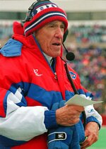 FILE - In this Nov. 12, 1995, file photo, Buffalo Bills head coach Marv Levy looks on during the second quarter of the Bills game against the Atlanta Falcons at Rich Stadium in Orchard Park, N.Y.   No other coach has reached the Super Bowl four years in a row. Unfortunately for Levy, he did not win any of them, tarnishing an unprecedented run with the Buffalo Bills that began with a bitter 20-19 loss to the New York Giants in the 1991 title game. (AP Photo/Bill Sikes, File)