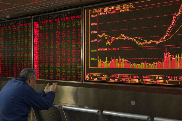 FILE - In this Jan. 16, 2020, file photo, an investor monitors stock prices at a brokerage in Beijing. Several factors are pointing to a possible rebound in emerging market stocks this year. Stocks in China and other developing economies notched solid gains in 2019, but lagged the blockbuster market returns delivered by publicly traded companies in the U.S. and other developed economies. (AP Photo/Ng Han Guan, File)