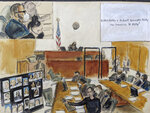 In this illustration drawn from a video feed, Assistant U.S. Attorney Elizabeth Geddes, bottom, presents her closing statement to the jury (not seen in video feed) while pointing to a large panel of photos of R. Kelly's inner circle and employees, Wednesday, Sept. 22, 2021, in New York. R. Kelly is seen seated at the defense table in inset on upper left. He is also seated far right at the bottom on the image. (AP Photo/Elizabeth Williams)