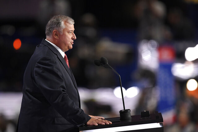 FILE - In this Monday, July 18, 2016, file photo, former Speaker of the Ohio House Larry Householder speaks during the opening day of the Republican National Convention in Cleveland. Householder, the Ohio House speaker now accused in a $60 million federal bribery probe, plays the long game when it comes to politics. (AP Photo/Mark J. Terrill, File)