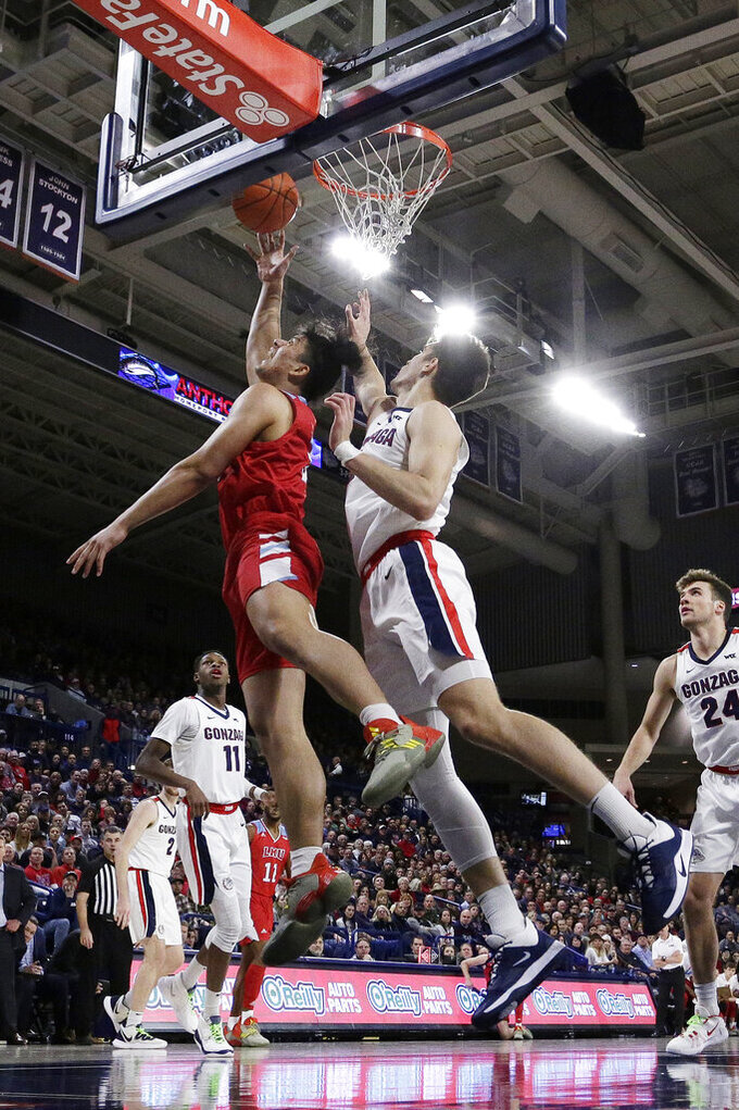 Loyola Marymount forward Keli Leaupepe, left, shoots in front of Gonzaga forward Filip Petrusev during the first half of an NCAA college basketball game in Spokane, Wash., Thursday, Feb. 6, 2020. (AP Photo/Young Kwak)