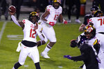 Maryland quarterback Lance LeGendre (12) throws a pass during the second half of an NCAA college football game against Northwestern in Evanston, Ill., Saturday, Oct. 24, 2020. (AP Photo/Nam Y. Huh)