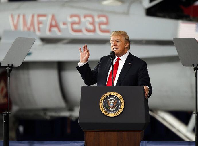 President Donald Trump speaks at Marine Corps Air Station Miramar, in San Diego, Tuesday, March 13, 2018. (AP Photo/Alex Gallardo)