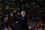 President Donald Trump speaks during a campaign rally at Erie Insurance Arena, Wednesday, Oct. 10, 2018, in Erie, Pa. (AP Photo/Evan Vucci)