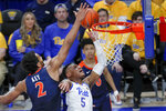 Virginia's Braxton Key (2) defends as Pittsburgh's Au'Diese Toney (5) shoots during the second half of an NCAA college basketball game, Saturday, Feb. 22, 2020, in Pittsburgh. Virginia won 59-56. (AP Photo/Keith Srakocic)