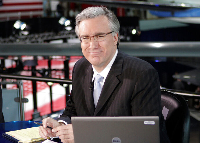 FILE - In this May 3, 2007 file photo, Keith Olbermann poses at the Ronald Regan library in Simi Valley, Calif. Olbermann has apologized for insulting and threatening a Mississippi turkey hunter who killed a rare white turkey. (AP Photo/Mark J. Terrill, file)