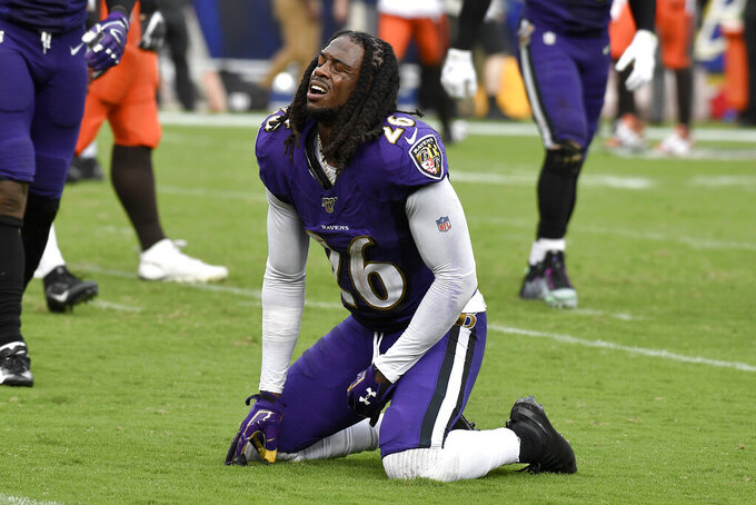 Baltimore Ravens cornerback Maurice Canady (26) reacts after failing to tackle Cleveland Browns running back Nick Chubb on a touchdown run during the second half of an NFL football game Sunday, Sept. 29, 2019, in Baltimore. (AP Photo/Brien Aho)
