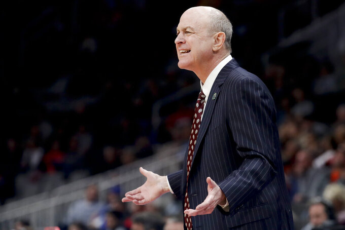 Mississippi State coach Ben Howland yells to his team during the first half of a first-round game in the NCAA men's college basketball tournament against Liberty on Friday, March 22, 2019, in San Jose, Calif. (AP Photo/Jeff Chiu)