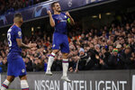 Chelsea's Cesar Azpilicueta celebrates scoring his side's 2nd goal during the Champions League Group H soccer match between Chelsea and Lille at Stamford Bridge stadium in London Tuesday, Dec. 10, 2019. (AP Photo/Kirsty Wigglesworth)