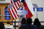 First lady Jill Biden speaks at Emmett J. Conrad High School in Dallas, Tuesday, June 29, 2021. (AP Photo/Carolyn Kaster, Pool)