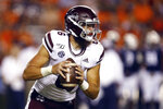 Mississippi State quarterback Garrett Shrader (6) scrambles out of the pocket during the second half of an NCAA college football game against Auburn, Saturday, Sept. 28, 2019, in Auburn, Ala. (AP Photo/Butch Dill)