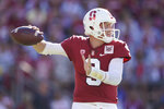 Stanford quarterback K.J. Costello (3) throws against Oregon during the first half of an NCAA college football game on Saturday, Sept. 21, 2019, in Stanford, Calif. (AP Photo/Tony Avelar)