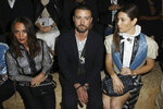 Actors Alicia Vikander, from left, Justin Timberlake and Jessica Biel attend the Vuitton Ready To Wear Spring-Summer 2020 collection, unveiled during the fashion week, in Paris, Tuesday, Oct. 1, 2019. (Photo by Vianney Le Caer/Invision/AP)