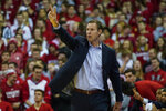 Nebraska head coach Fred Hoiberg directs his team during the second half of an NCAA college basketball game against Wisconsin Tuesday, Jan. 21, 2020, in Madison, Wis. Wisconsin won 82-68. (AP Photo/Andy Manis)
