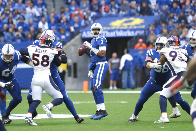 Indianapolis Colts quarterback Jacoby Brissett (7) looks to throw during the first half of an NFL football game against the Denver Broncos, Sunday, Oct. 27, 2019, in Indianapolis. (AP Photo/AJ Mast)