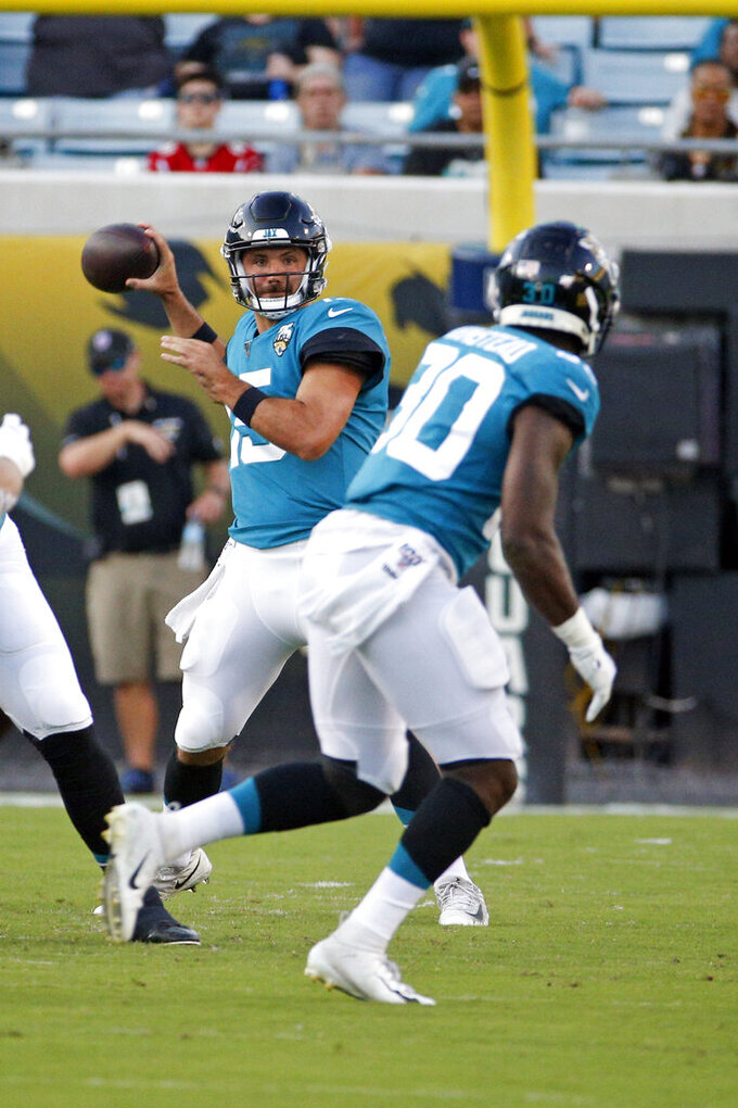 Jacksonville Jaguars quarterback Gardner Minshew (15) throws a pass to running back Ryquell Armstead, right, during the first half of an NFL preseason football game against the Atlanta Falcons, Thursday, Aug. 29, 2019, in Jacksonville, Fla. (AP Photo/Stephen B. Morton)
