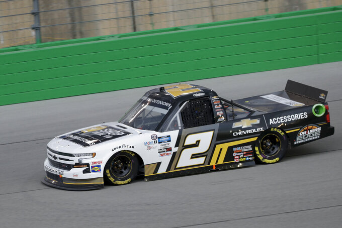 Sheldon Creed drives during a NASCAR Truck Series race Saturday, July 11, 2020, in Sparta, Ky. (AP Photo/Mark Humphrey)