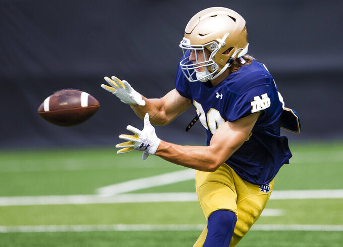 Matt Salerno is shown during Notre Dame NCAA college football practice in South Bend, Ind., Thursday, Aug. 12, 2021. (Michael Caterina/South Bend Tribune via AP)