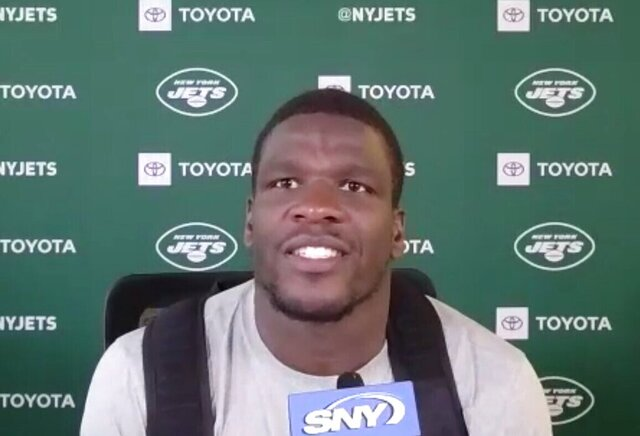 In this still photo from video, New York Jets running back Frank Gore speaks to reporters on a video conference call in Florham Park, N,J., Monday, Aug. 17, 2020. (Dennis Waszak Jr./Zoom via AP))