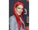 FILE - In this Sunday, March 5, 2017, file photo, Jeffree Star arrives at the iHeartRadio Music Awards at the Forum in Inglewood, Calif. YouTube personality, businessman and musician Star was hospitalized after a car crash in Wyoming. Star veered off a slushy road in the Casper area Friday morning, April 16, 2021, and overturned his Rolls Royce, according to the Wyoming Highway Patrol. (Photo by Jordan Strauss/Invision/AP, File)
