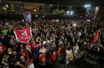 Demonstrators protest Jair Bolsonaro, a far-right presidential candidate, in Sao Paulo, Brazil, Wednesday, Oct. 10, 2018. Bolsonaro will face off with Workers Party candidate Fernando Haddad in an election runoff on Oct. 28. (AP Photo/Andre Penner)