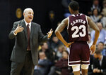 Mississippi State head coach Ben Howland talks with guard Tyson Carter (23) in the first half of an NCAA college basketball game against Vanderbilt, Saturday, Jan. 19, 2019, in Nashville, Tenn. (AP Photo/Mark Humphrey)
