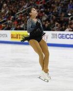 Alysa Liu performs her women's free skate during the U.S. Figure Skating Championships, Friday, Jan. 25, 2019, in Detroit. Liu won the title. (AP Photo/Carlos Osorio)
